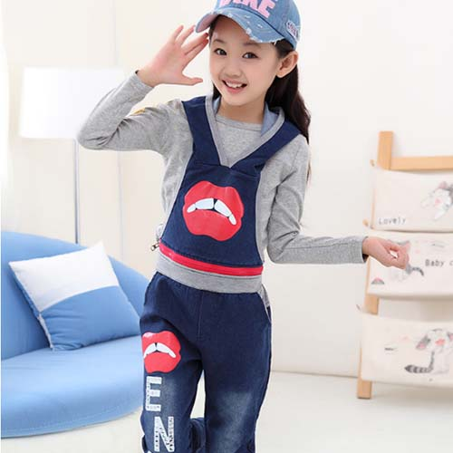 {TAW15008} Kids girls three-piece sets Korean new autumn children denim sets wholesae