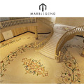 Front stair crema marfil base marble luxury floor medalions
