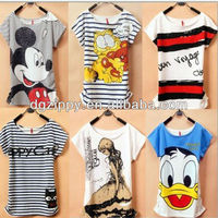 2013 Hot Selling New Design Mickey Mouse Printed T-Shirts/tees polo shirt women type short sleeve printed t-shirts