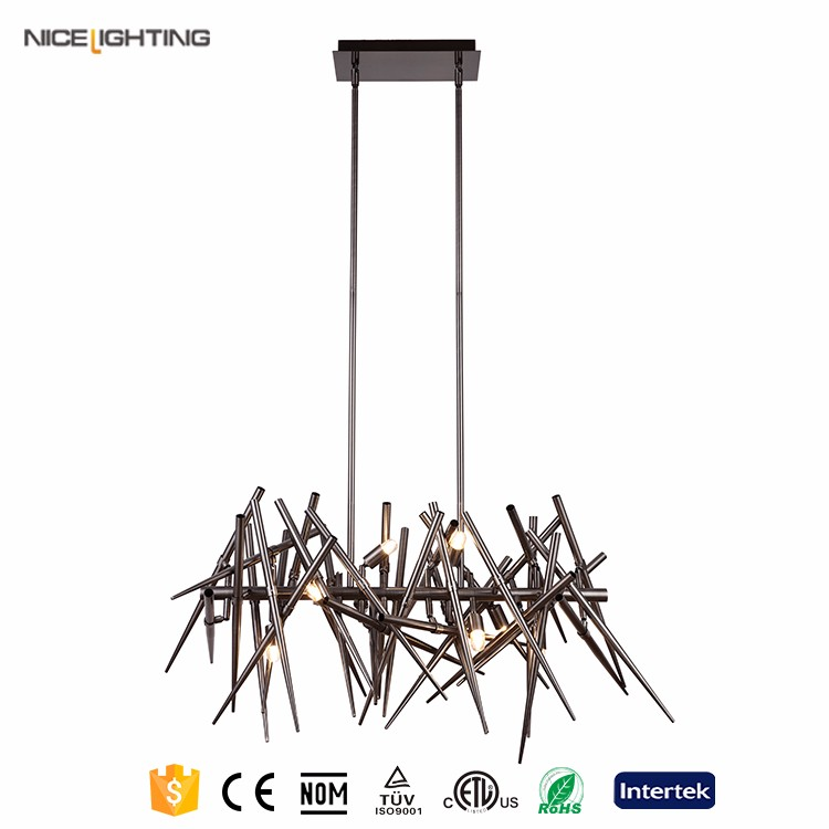 Black nickel iron cheap chinese incandescent luminaire chandelier