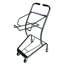 high quality hot sell powder coating metal 2-tier four wheel shopping cart double basket trolley hand trolley