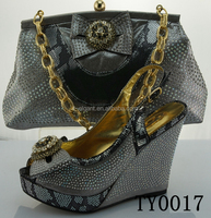 GRAY italian matching shoes and bags/wholesale italian leather shoes and bags