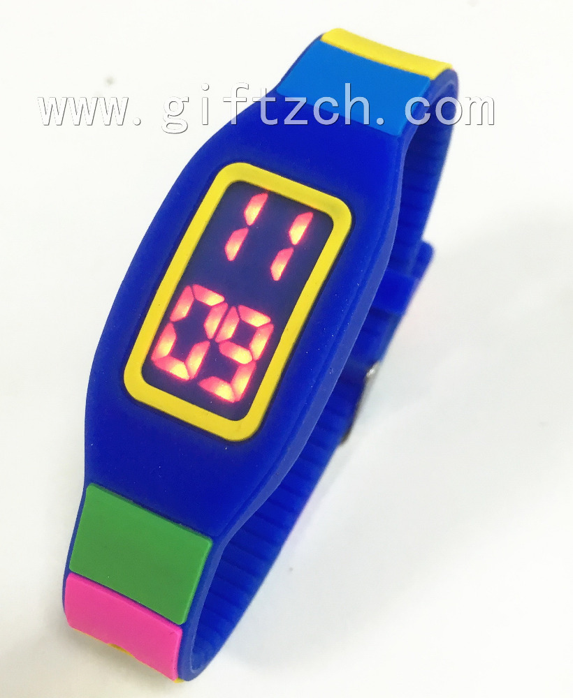 Rectangle Rainbow Kids Silicone touch LED watch