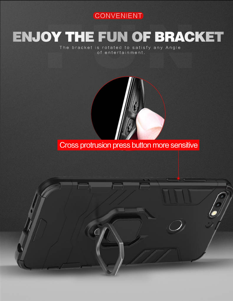 Metal ring grip kickstand tpu pc hybrid case for huawei honor 7c,back cover phone case for huawei enjoy 8