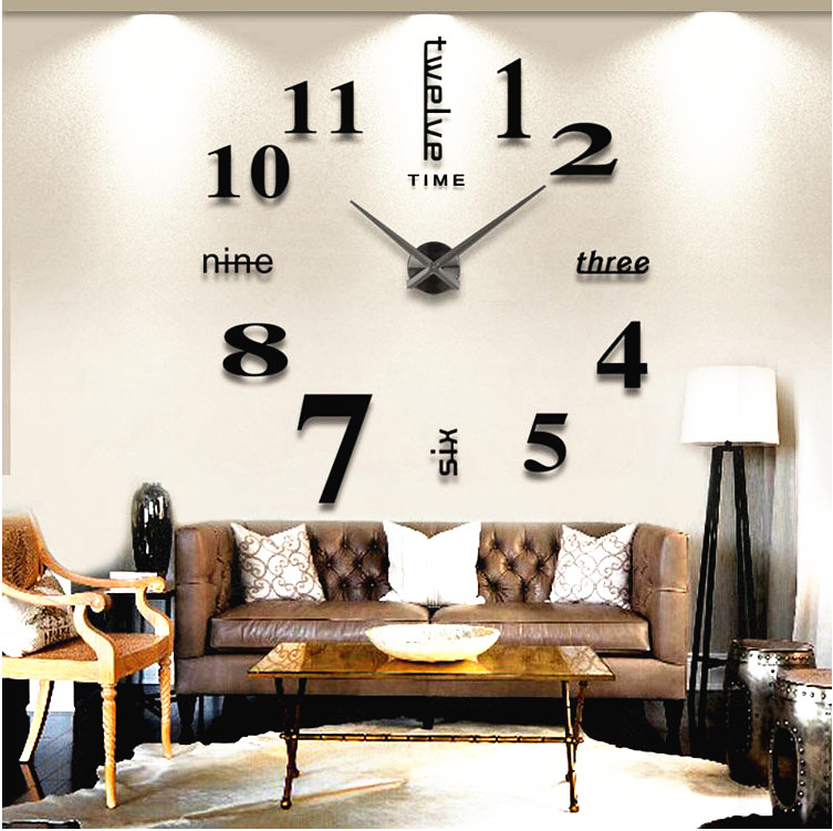 Novelty modern design home decorative wall sticker clock 3D frameless large DIY wall clock