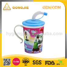Newest Design, Cute Cartoon Mug, Popular, 530ml, PP Plastic Cup With Handle Lid And Straw
