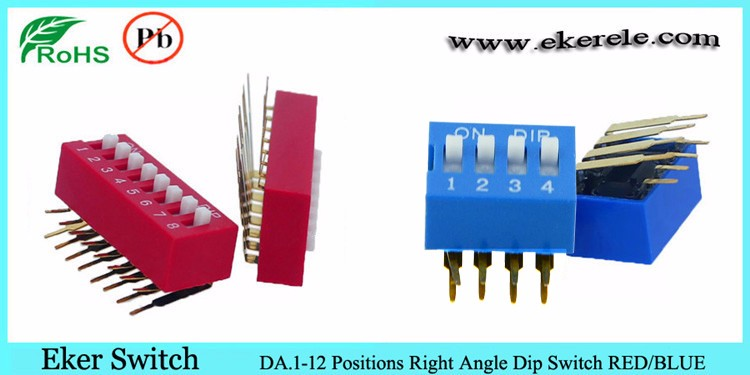 6 Position 1.27mm half pitch SMT type dip switch SPST