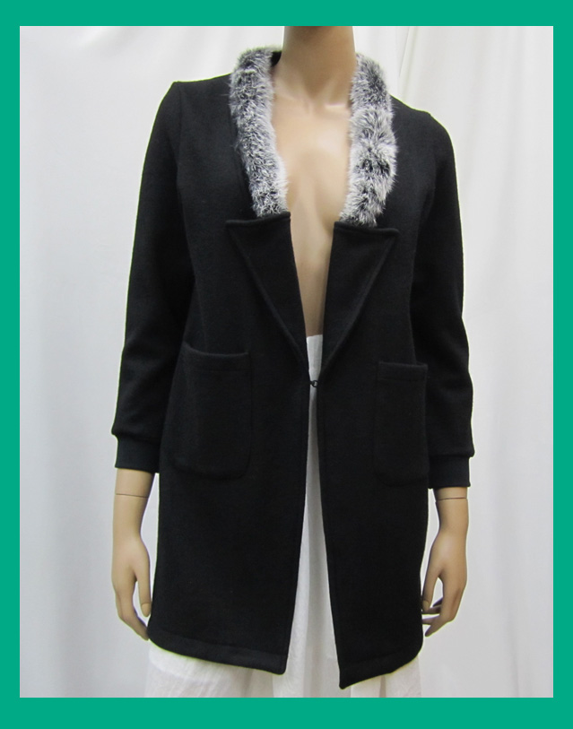 wholesale clothing ladies wool jacket with rabbit fur knitted cuffs collars women winter coat