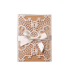 Wholesale Custom laser cut greeting and unique design wedding invitation <strong>card</strong> with bowknot