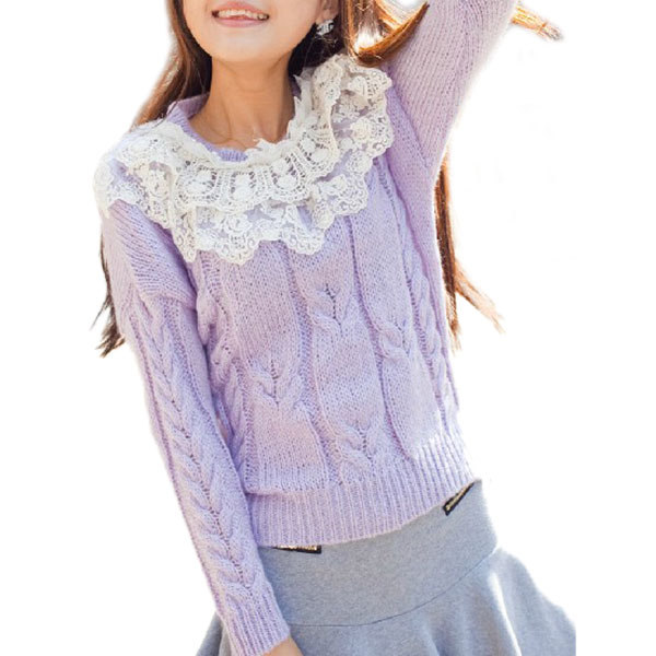 Lovely cute korean style Lace collar with pearls,full cable knit sweater for women or ladies