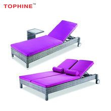Commercial Contract TOPHINE Outdoor Furniture Single /Double Wicker Patio Lounge Chaise
