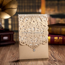 gold laser cut pocket design wedding invitation card cw5010