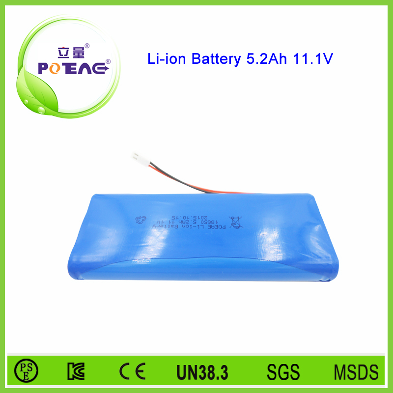 Factory customized 18650 rechargeable 12v lithium battery 5200mah