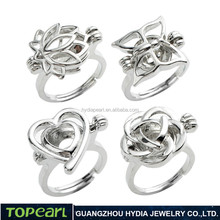 WG41 Topearl Jewelry Wholesale Rings Designs Lotus Butterfly Heart Rose Cages Wish Love Pearl Cage Ring