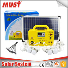 wholesale small power home use off grid solar lighting kits 10W 20W 30W with panels/ chargers/ bulbs