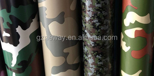 vinyl self adhesive /pvc material car wrap/1.52*45m decoration camouflage CMC03 with shine