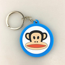 Cheap 2D cute soft pvc rubber silicone monkey printing key chains