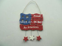 GOOD SALE 10-3/4''H National Flag w/Hanging Stars Plaque