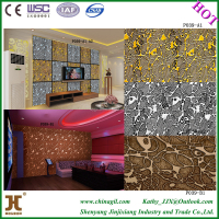 China JJX 3d fire proof damp proof wood carving interior decorative wall panel
