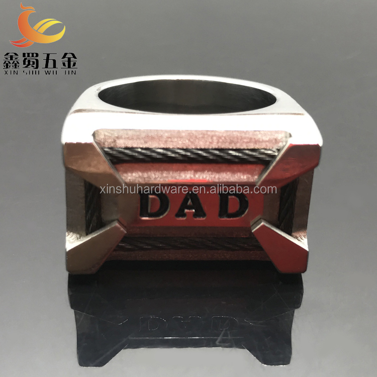 High Quality & Polished Good Finished 316L Stainless Steel Reversible 'DAD' Ring