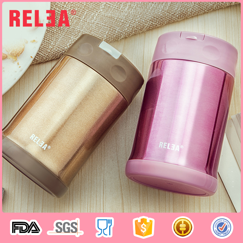 500ml double wall vacuum insulated thermos lunch box with folding spoon