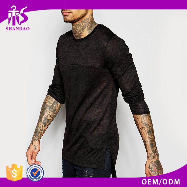 2017 Guangzhou Shandao Manufacturer Men Casual O-Neck Long Sleeve 160g 100% Cotton moisture Wicking T Shirts Wholesale