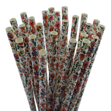 25ct 7.75'' Biodegradable Decorative Floral Paper Straws for Party 31P10