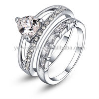Good quality ring sapphire 18k white gold GP infinity elegant sweet wedding ring sets jewelry