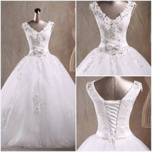 Hot Sale White Tulle V Neck Ball Gown Puffy Lace Appliques Bow Lace-up Wedding Dresses