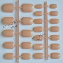 24pcs Hot Acrylic Nail Plate Tips Candy Color Fake False Nails Short Quadrate Head Shiny Light Orange P58
