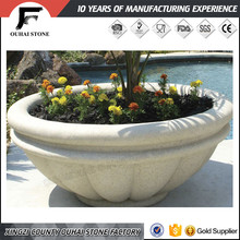 Healthy life beautiful flowers and plants granite garden pots