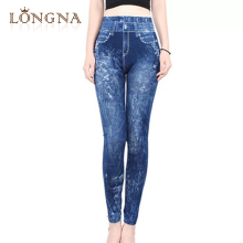 Seamless Skinny Looking Women Stretchy Leggings Jegging Denim Jean Print Ankle Length