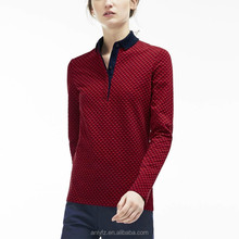 Anly new trendy jacquard pattern long sleeve ladies latest design polo shirt
