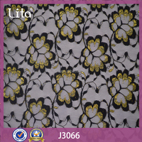 Lita J3066 Indian popular golden flower decoration lace fabric for traditional clothing