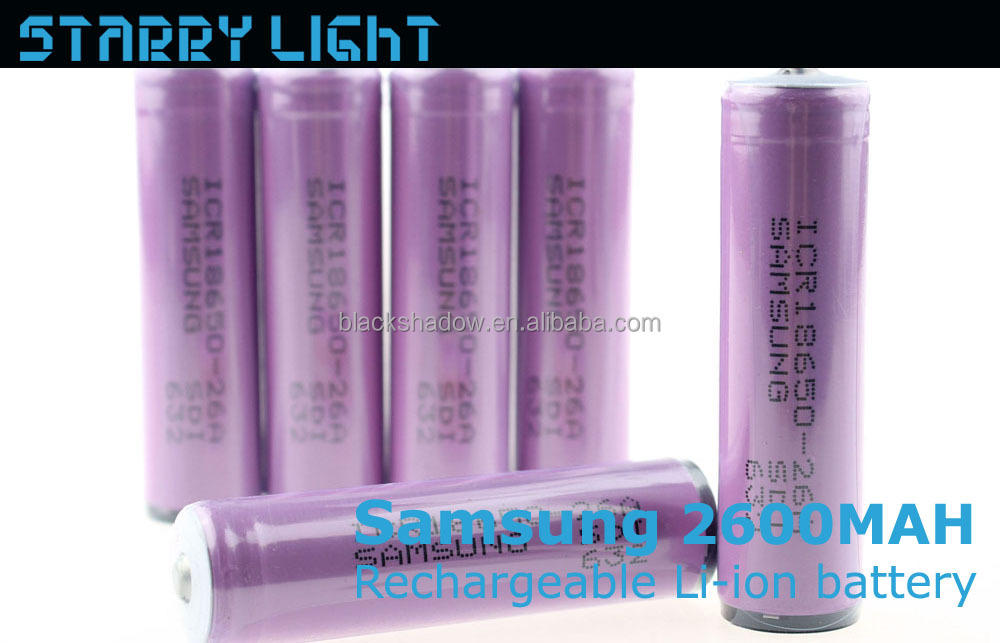 Samsung ICR18650-26A 2600mah rechargeable li-ion 18650 battery