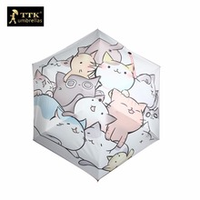 cat umbrella female Mini sun 5 fold umbrella gift box black TTK rain uv cartoon umbrellas small Parasol women children customize