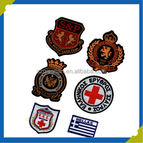 wholesale cheap custom 3D embroidery patches label badges for garment