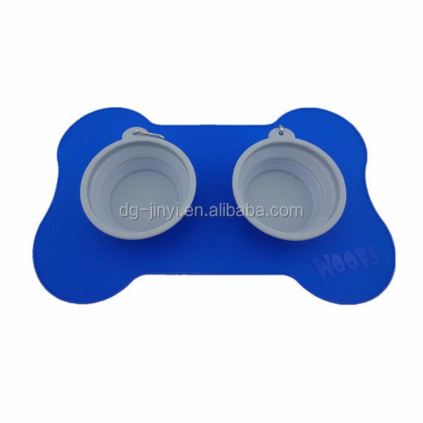 Bone shaped silicone pet mat food mat pet feeding mat