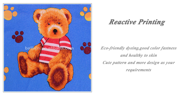 Teddy bear cartoon characters printed microfiber towels high quality thin bath towel