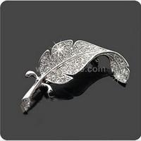 Leaf Rhinestone brooch,china wholesale feather colorful rhine stone brooch women,crystal letter brooch pins
