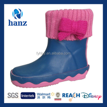fashion warm girls wellies bow pink cute kids rain boots