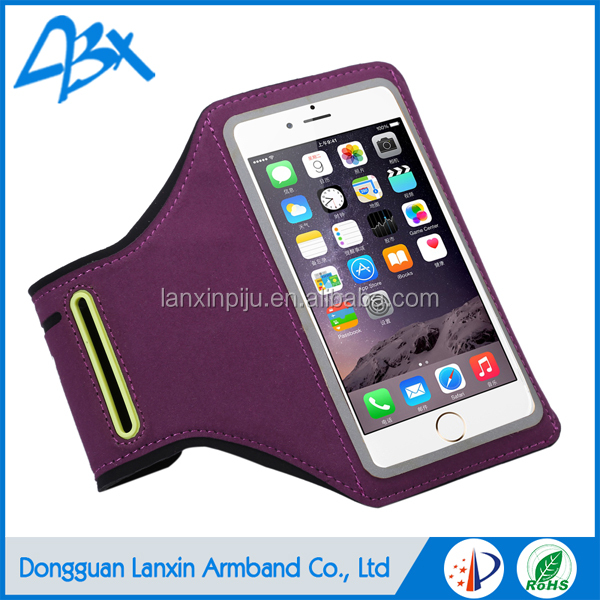 Universal smart neoprene armband case;running arm bag for iphone 6 plus case with Key Holder and Card Slot;Purple color