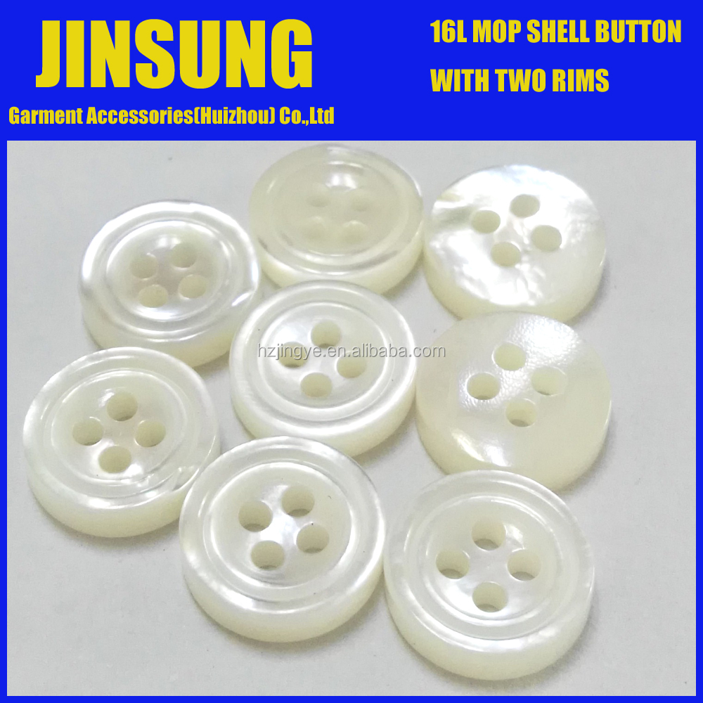 16L white mother of pearl shell button, natural shell button, MOP shell button