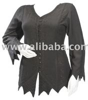Gothic Embroidery Zig Zag Peasant Ladies~Woman~Girls Top Blouse