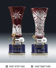 High quality brown transparent K9 crystal award vase trophy