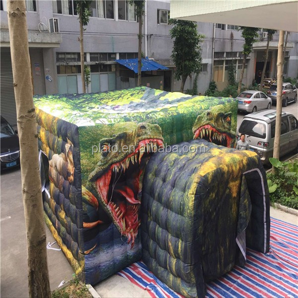 6*6m large advertising inflatable Jurassic dinosaur cube tent for event