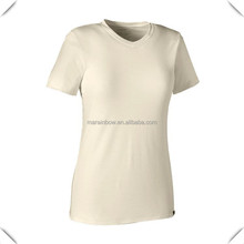 Customised Promotion Solid color Merino Daily V-Neck T-Shirt 100% cotton Short Sleeves for women Fitness with tagless printing