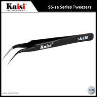 Hot Sale Kaisi 7-Sa Anti-Magnetic Anti-Acid Non-Corrosive Precision Widely Useful Tweezers Stainless Steel Curved Tip Tweezers