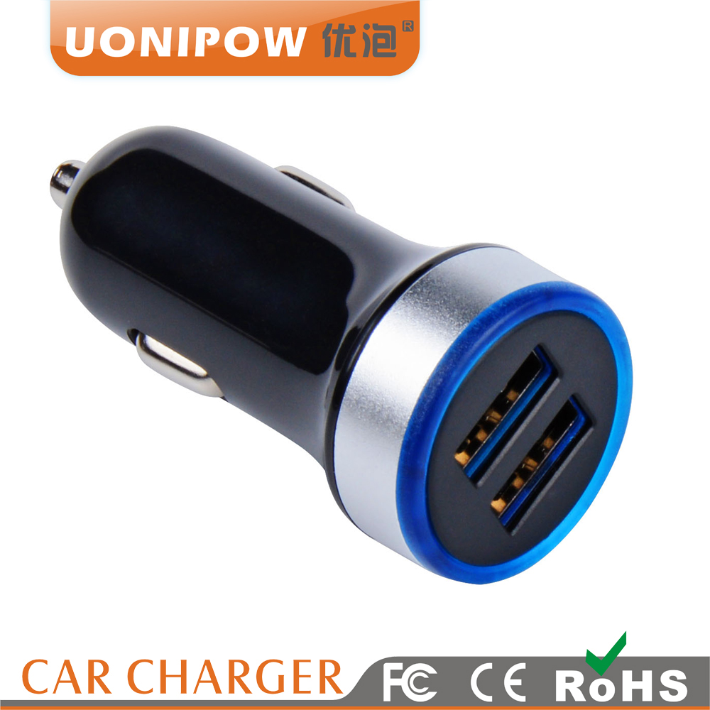 5V 3.4A Mobile Phone Accessories Rapid Fast Dual USB Car Charger with CE ROHS FCC