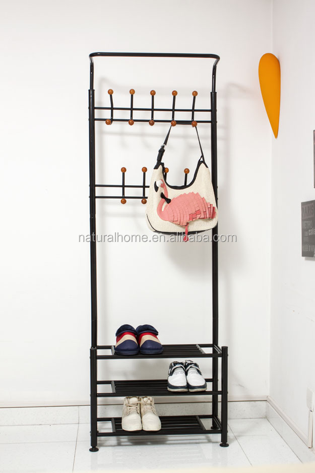 Home Furniture Metal Hat Stands Coat Hanger Stand With Shoe Rack Space Saver
